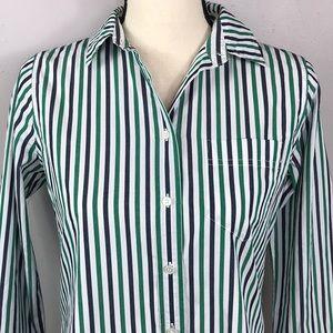 J Crew Striped Green Blue Button Down Shirt